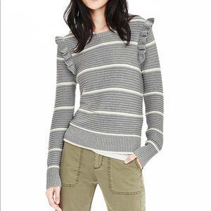 EUC Banana Republic Striped Ruffle Sweater- XS